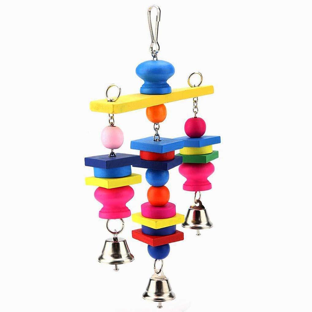 27 15 4cm Wooden Rainbow Flexible Swing Ladder for Parrots Trainning,Random Color Poualss Bird Parrot Toys,Colorful Block