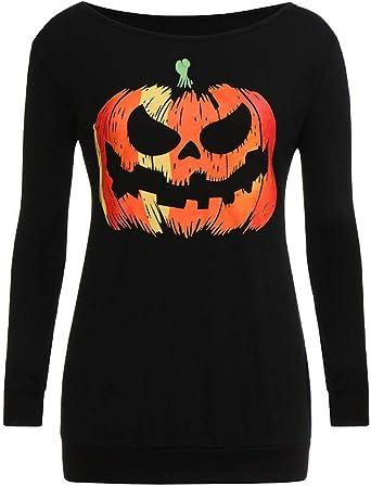 Plus Size UK 8-18 Halloween Fashion Winter Pullover Tops Pumpkin Printed Women Sweatshirt Long Sleeve Orange Large Size Pullovers Smony Ladies Casual 2019 New Hooded Sweatshirts