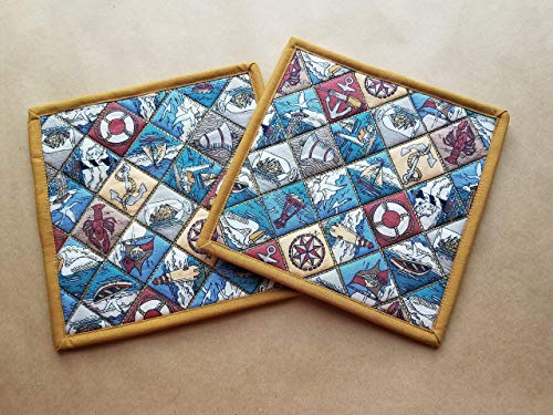 Coastal Patchwork Potholders Set of 2 Quilted Trivets Pair Insulated Hot Pads Nautical Home Decor Handmade Beach Kitchen Theme Anchors Ships Lighthouse Housewarming Hostess Gifts Under 20