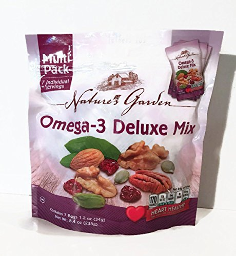 Natures Garden Omega-3 Deluxe Mix Heart Healthy Snack, 1.2-oz Bags (Pack of 7) (Best Nuts For Omega 3)