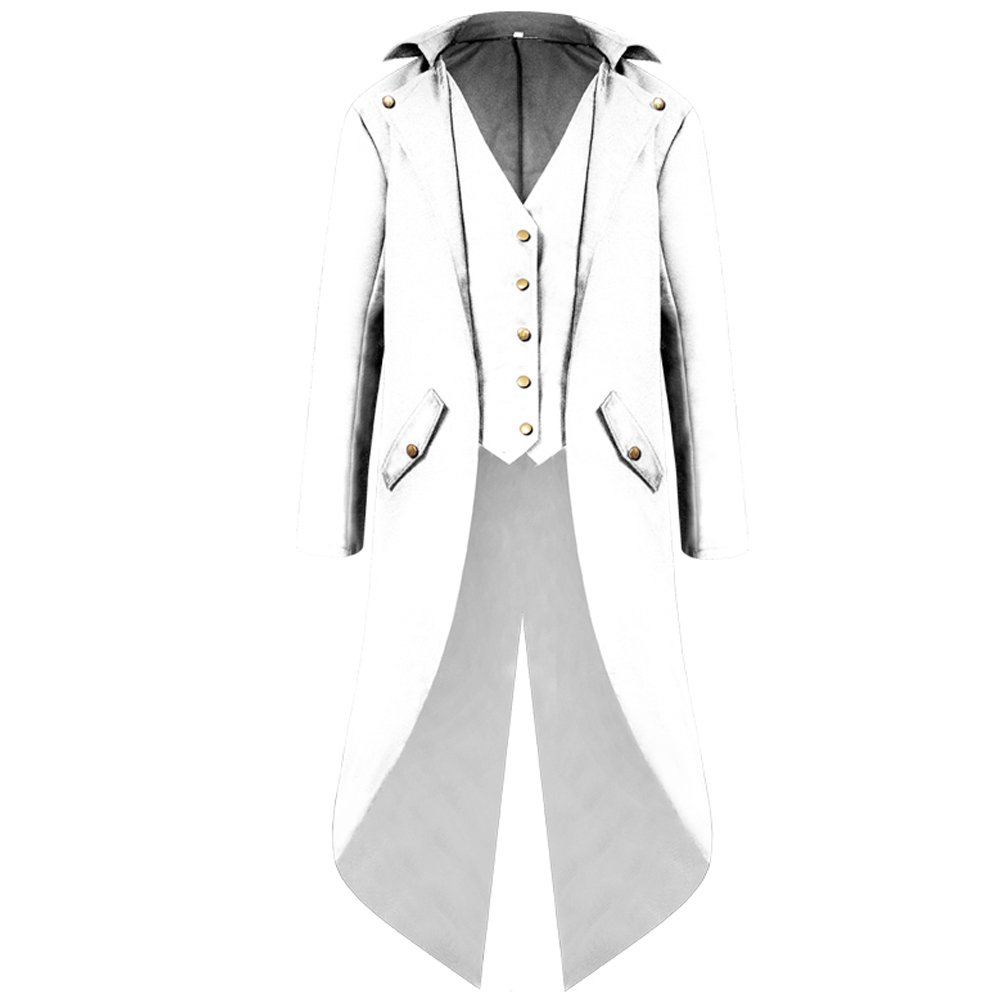 Ainiel Men's Punk Tuxedo Vintage Gothic Long Tailcoat Halloween Costume