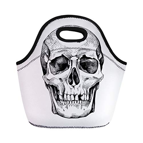 (Semtomn Lunch Tote Bag Engraving Frontal of the Skull Drawing Anatomy Black Bone Reusable Neoprene Insulated Thermal Outdoor Picnic Lunchbox for Men Women)
