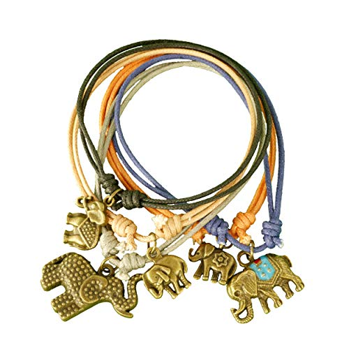 Reatha Design Lucky Elephant Charm Bracelets for Women (5 Bands) Handcrafted w/Adjustable Slip Knot | Inspirational Jewelry Symbolizes Good Luck, Kindness, Long Life -