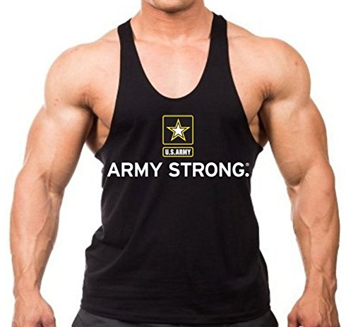Army Strong US Stringer Workout Tank Top Y Back XS-2XL (XL, Black)