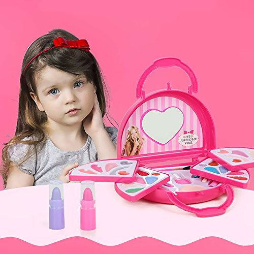 [Toddler Girl Pretend Makeup Set Toys with Pink Travel Case, Little Princess Makeup Play Kit in Beauty Case Favor Birthday, Christmas Gift] (Justice Makeup Kit)