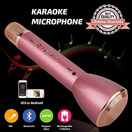 e Microphone with Speaker, Portable Bluetooth Microphone Child Karaoke Mic Machine for Kids Adult Singing Party Music Playing, Support iPhone Android Smartphone PC iPad (Pink) ()