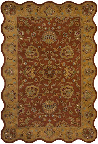 Safavieh Heritage Collection HG820A Handcrafted Traditional Oriental Red and Natural Wool Scallop Area Rug 6 x 9