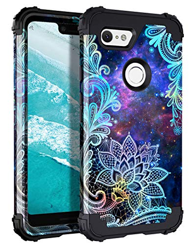 Casetego Compatible Google Pixel 3 XL Case,Floral Three Layer Heavy Duty Hybrid Sturdy Armor Shockproof Full Body Protective Cover Case for Google Pixel 3 XL,Mandala