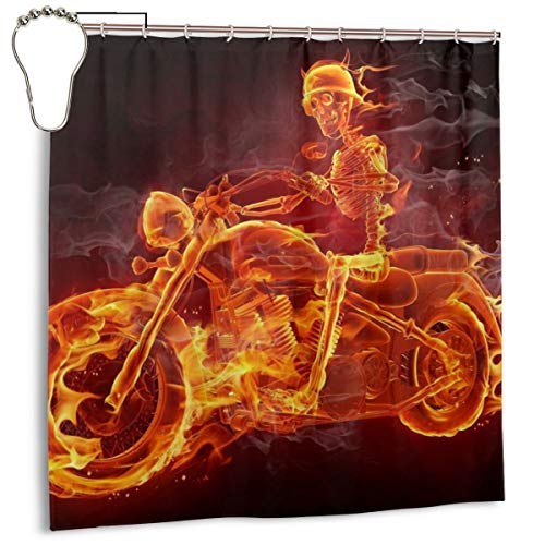 Burning Skeleton Riding Motorcycle Polyester Shower Curtain Set Bath Decor Mould Proof Waterproof Hotel Fabric Bath Curtains with Hooks 72