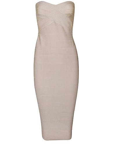 Whoinshop Women Sexy Below Knee Strapless Cocktail Bandage Dress