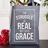 The Struggle is Real Tote Bag, 14-1/2 x 16'' H with 3'' Gusset, 12 Pack.