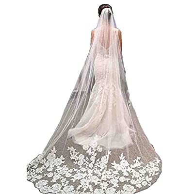 Kivary Long 1 Layer Chapel Train 3M Tulle Lace Appliques Wedding Bridal Veils