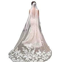Kivary Long 1 Layer Chapel Train 3M Tulle Lace Appliques Wedding Bridal Veils