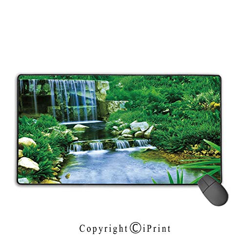 Extended Gaming Mouse pad with Stitched Edges,Nature,Waterfall Flowing Down The Rocks Foliage Cascade in Forest Valley Image,Fern Green Light Blue,Premium Textured Fabric, Non-Slip Rubber Base,9.8