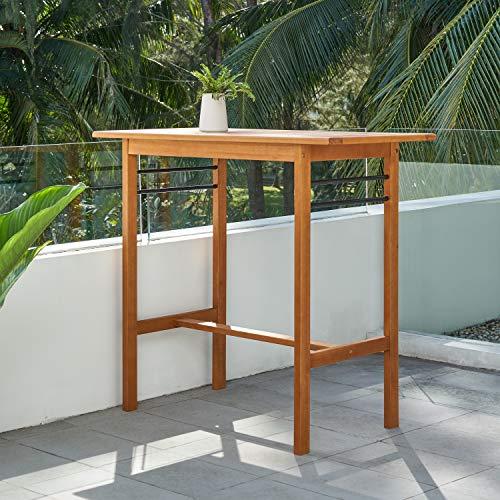 Vifah V1917 Gloucester Contemporary Patio Bar Table, Golden Oak Wood Color