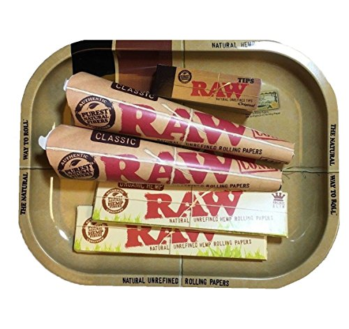 ith Raw Rolling Tray And Raw Filter Tips | Roll Your Own Cones | King Size Hemp Rolling Papers ()