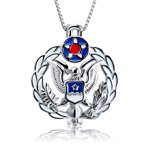 925 Sterling Silver Air Force Badge Cage Pendants on Anniversary/Memorial, Design Medal Locket Pendant for Jewelry Making