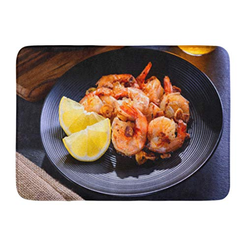 ange Appetizer Skillet Roasted Jumbo Shrimp on Black Plate Closeup Sliced Garlic Spices Beer Bathroom Decor Rug 16