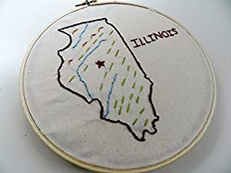 Illinois State Map Wall Art. Hand Embroidery Hoop Art. 7 inch. Summer Travel Memento. Classroom Decor. Home State Art. Illinois Home Map.