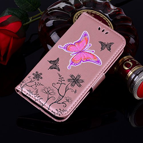 Galaxy S8 Plus Libro Funda, Galaxy S8 Plus Flip Case Cover, Galaxy S8 Plus Funda con Tapa, Moon mood® Bling Glittar PU Cuero Soft TPU Interior Cáscara Folio Bookstyle Galaxy S8 Plus 6.2 pulgadas Anti- C Rosa Oro