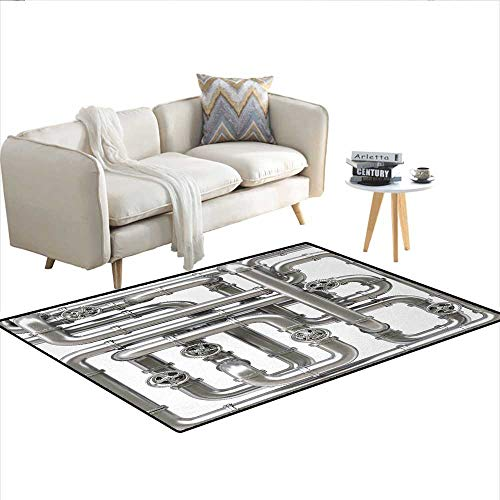 (Floor Mat,Maze of Pipelines Faucets and Valve Gasoline Engineering Themed Print,3D Printing Area Rug,Silver and WhiteSize:55
