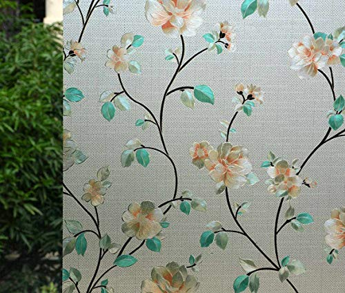 "VSUDO Decorative Privacy Window Film, No Glue Static Cling Glass Sticker, Anti-UV Window Tint for Home or Office(Living Room/Bathroom/Kitchen/Front Door)(1Roll, 35.4"" by 78.7""/ 90X200CM, Jasmine)"