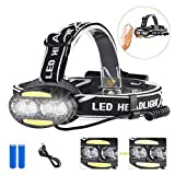 Headlamp Flashlight, Led Headlamp Sensor Rechargeable Headlamp 7 Modes Headlamp Waterproof Headlight With Rechargeable Batteries for Camping, Hiking, Dog Walking,Running -  Eleay