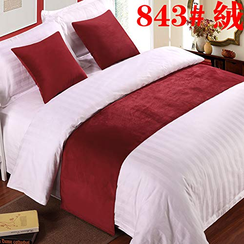 Bed Runner Bed Scarf Hotel Bedding Cloth high-Grade Bed Tails Bed Flag Bed Tail pad Bed Tail Strip Decorative Strip, red Velvet, 2m Bed (50x260cm) (Bed Matching Scarves Pillows And)