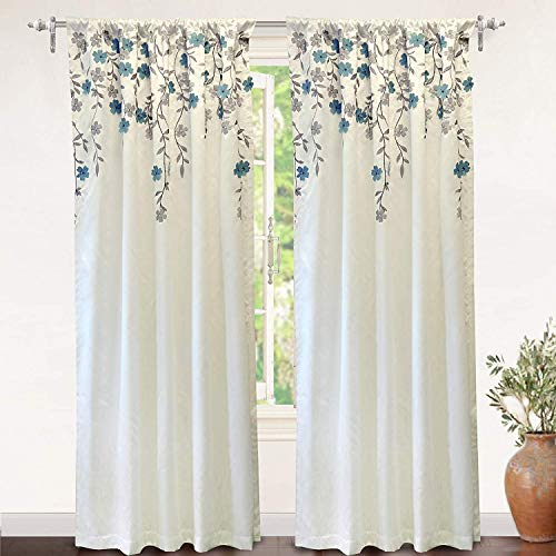 DriftAway Isabella Faux Silk Embroidered Window Curtain Embroidered Crafted Flower Lined with Thermal Fabric Single Panel 50 Inch by 96 Inch Ivory Blue (Spanish Treatments Window Style)