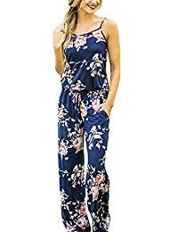 ZIOOER Women's Printed Strap Sleeveless Casual Wide Long Pants Jumpsuit Rompers