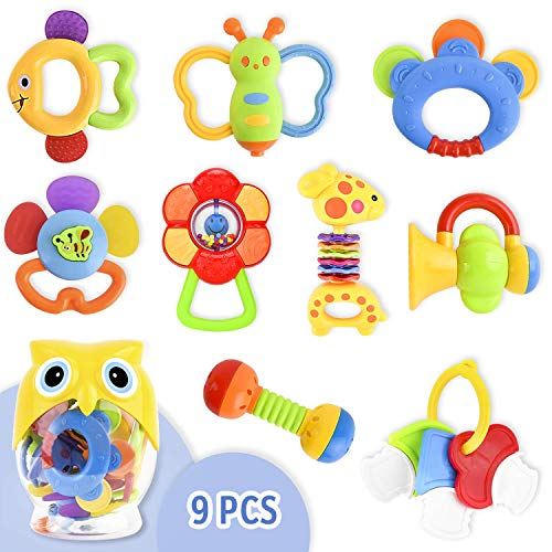 (9 Pcs Toys for Infants Baby Rattle Teether Toy Set, Baby Mouth Toys Shake and Grab Rattle Musical Toys with Owl Storage Bottle Baby First Rattle and Teether Toy Gift for Infant, Newborn Baby, Toddler)