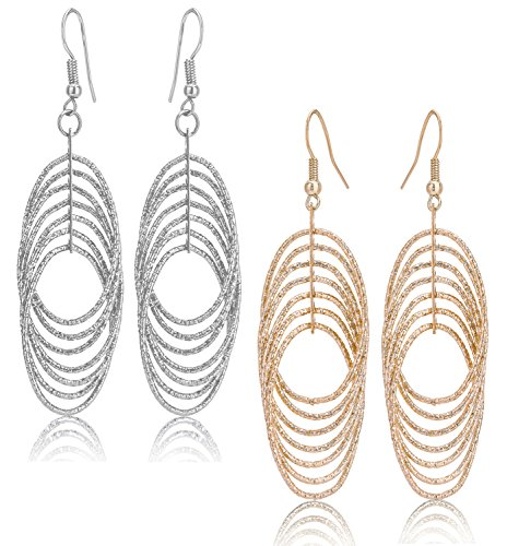 Drop Dangle Earrings Set For Women Teen Jewelry Plate in Silver And Gold Diamond Cut 2 Pairs (GL1: Oval Dangle