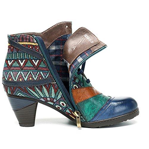 Invierno Tacón De Cálidos Oscuro Con Azul Cuero Ocasionales Mujeres Cuero Zapatos Oxford Bohemia Para Botines Botas Socofy 5gIx6qwRP