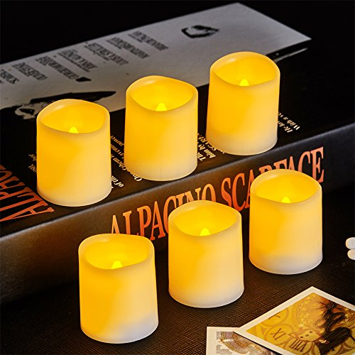 Vongem Indoor and Outdoor Flickering Flameless Votive Candles with 12 Cells Battery Operated Unscented Candles for Wedding Home Party (White,1.5 X 1.6 Inches,Pack of 6)