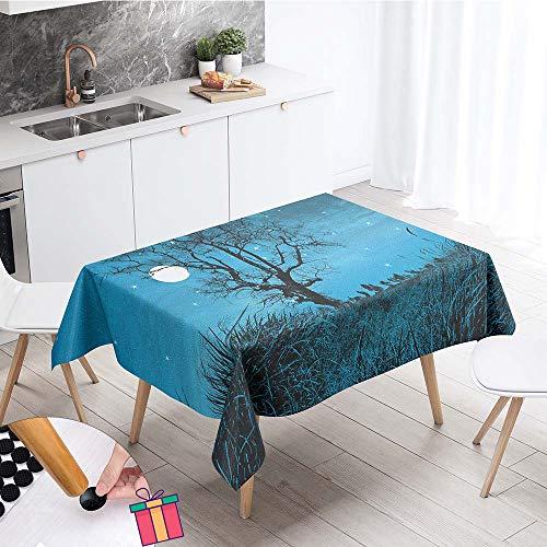Enhome Mantel Mesa Rectangular Tela, Impermeable Antimanchas Lavable Square Bosque Planta 3D Impresion Manteles para Cocina o Salon Comedor Decoracion del Mesa (Azul Cielo,140x140cm)