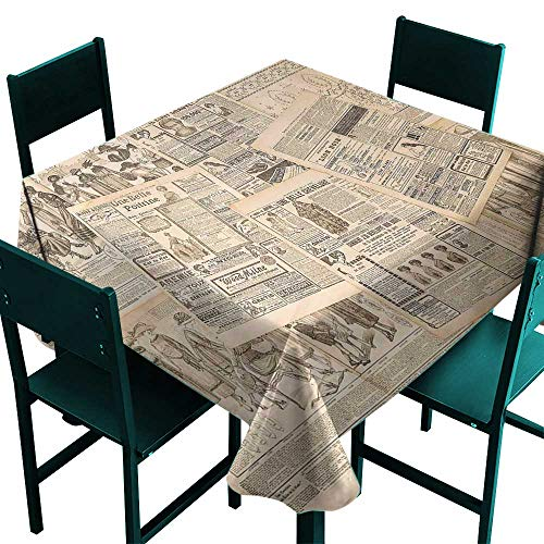 (Warm Family Antique Waterproof Tablecloth Newspaper Pages with Advertising and Fashion Magazine Woman Edwardian Publicity Image Great for Buffet Table W63 x L63 Cream)