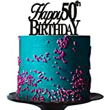 Happy 50th birthday cake topper for 50th birthday cake topper party decorations Black acrylic