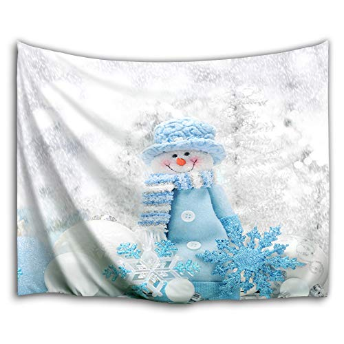 Colorful Star Blue Hat Snowman Design Wall Hanging Tapestry for Room Decorations,Machine-Washable&Antibacterial&Eco-Friendly Made of 100% Polyester Fabric,No Fading 90