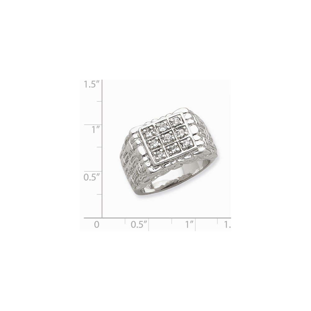 Goldia Sterling Silver Mens Synthetic Cz Ring