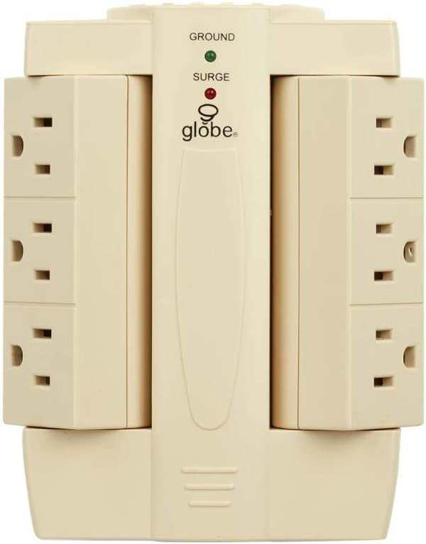 6-Outlet Swivel Space Saving Surge Protector Wall Tap 2-Pack, 1200 Joules, Almond Finish,78339