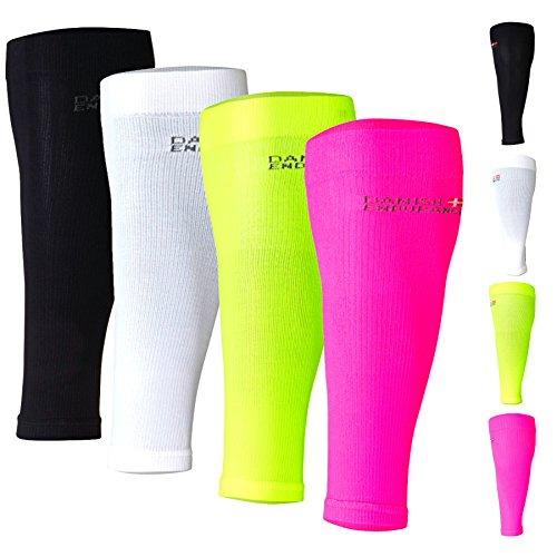 DANISH ENDURANCE Graduated Calf Compression Sleeves (Medium, Neon Yellow)