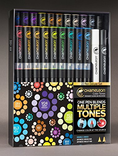 Chameleon Marker 22 Deluxe Set w/ Zen Doodles Color Cards by Chameleon