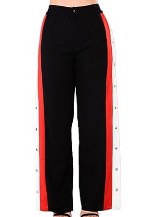 a4b8986b3b88e Suvimuga Mujeres Botones Laterales Hendidura Club Pantalones Sport  Pantalones De Pierna Ancha  Amazon.es  Ropa y accesorios