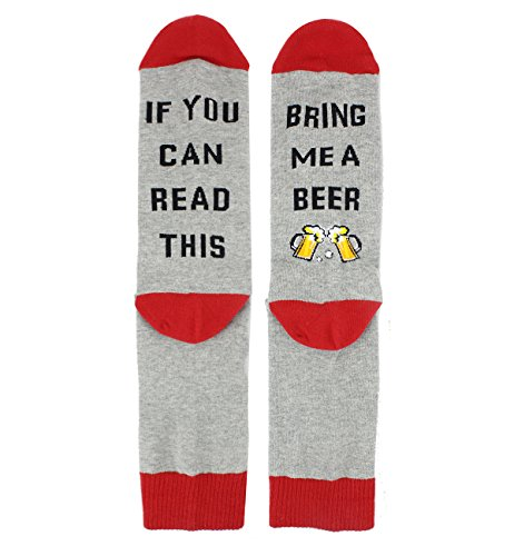 Zmart Funny Saying Knitting Word Combed Cotton Crew Beer Socks for Women (Beer Packages For Gifts)