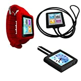 PiGGyB Groovy Pack Silicone Watch Band Case Necklace Cover For Apple iPod Nano 6 6th Generation (Red Mix)