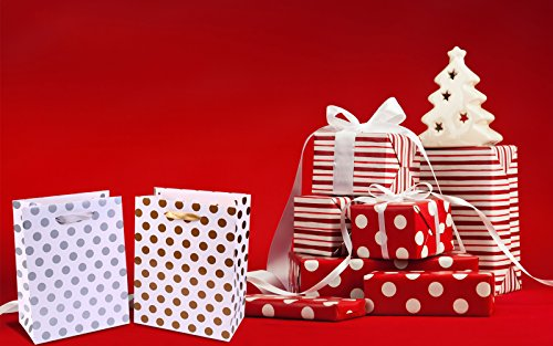 Gift Bags 8x4.75x10.5 Medium Paper Shopping Bags 12 Pack - 6 Gold and 6 Silver Gift Bags Polka Dot Perfect for Weddings, Birthday and Graduation Presents, Gift Wrap Bags by BagDream (Image #5)