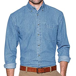 A&E Designs Upscale 100% Cotton Long Sleeve Value Denim Shirt – Faded Blue
