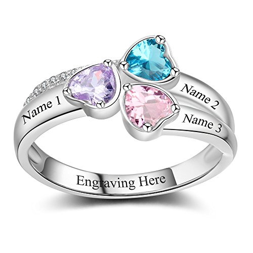 Lam Hub Fong Personalized Mothers Rings with 3 Simulated Birthstones for Grandmother Mother Anniversary Rings (7) (Mother Child Ring)