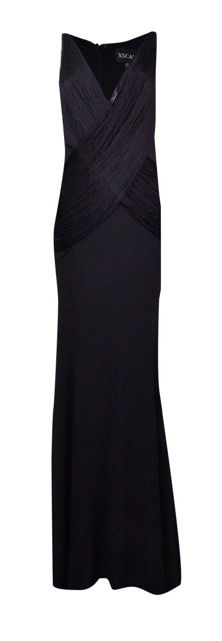 Xscape Women's Draped Fringe Illusion Neckline Jersey Gown (12, Black)