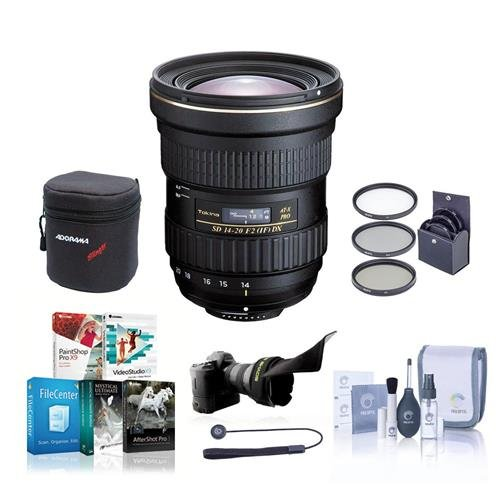 Tokina 14-20mm f/2.0 AT-X Pro DX Lens for Nikon - Bundle with 82mm Filter Kit, Lens Case, Cleaning Kit, Flex Lens Shade, Lencap Leash, Software Package